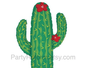 """Cactus Shape Large 41"""" Balloon Fiesta Party Western"""