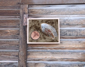 Real Pheasant Wing, Hand Tooled Leather, Hand Crafted, Bird Wing, Wooden Frame, Wall Hanging, Feathers in a Frame,  Tooled Pheasant