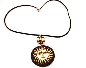 Sun necklace/wooden necklace/ wood necklace/ handmade necklace/ wood burned necklace/ pyrography/ sun pendant necklace/ wood jewelry