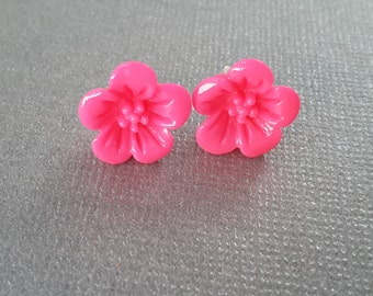 Hot Pink Hybiscus Studs . Earrings