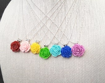 Rose Pendant . Silver Chain . Necklace