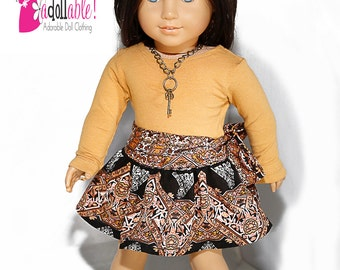 American made Girl Doll Clothes, 18 inch Girl Doll Clothing, Caramel Top, Circle Skirt made to fit like American girl doll clothes