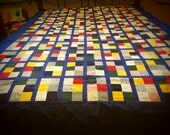 Twin Sized quilt Top - Bright Blue, Red, Green, Yellow, and White