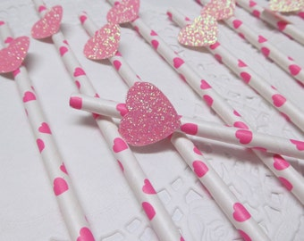 12ct Pink Hearts Paper Party Straws - Wedding-Baby Shower-Bridal Shower-Valentines-Anniversary-Biodegradable-Cake Pop Straws-Mason Jars