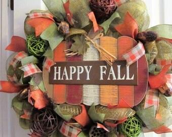 """Fall Deco Mesh Metallic Wreath  - """"Happy Fall"""" Jumbo Door Wreath - Warm Fall Colors - Wooden Sign - Entryway Decor - Fall Door Wreath"""