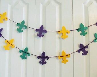 Mardi Gras Fleur de Lis Paper Garland, Birthday Party Garlands, Fleur de Lis Shapes - Carnival Decor - Fat Tuesday - New Orleans Saints