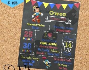 Pinocchio Birthday Chalkboard / 1st birthday chalkboard / 2nd birthday chalkboard/