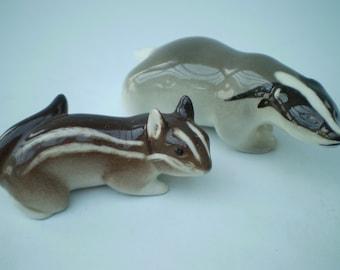 Lomonosov Porcelain/China - Brown Chipmunk - Grey/Black Badger - Animal - USSR - Russia