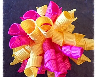 Small Pink and Yellow Korker Bow