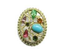 Vintage Flower Bouquet Brooch in Silver Tone Setting wih Pink Lilac Green Topaz Crystals Turquoise Floral  P5