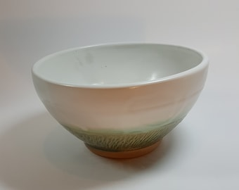Chattered Serving Bowl in green and white