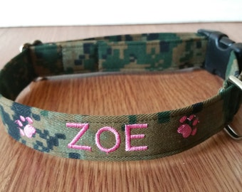 Personalized/Monogrammed USMC Woodland Digital Camo MARPAT Dog Collar Glow in the Dark thread now available