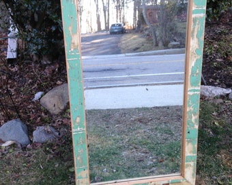 Antique mirror with reclaimed wood trim