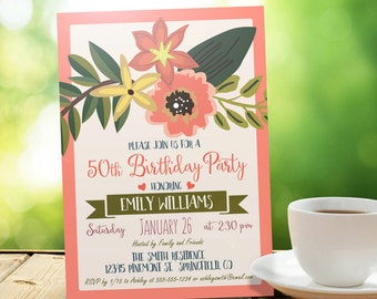 Spring Birthday Party Invitation - Personalized Printable DIGITAL FILE