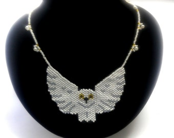 White seed bead necklace – owl necklace – seed bead owl necklace jewelry