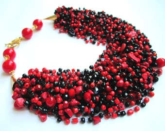 Red and black airy beaded necklace – seed bead necklace with coral stones – air multi strand red black beaded necklace