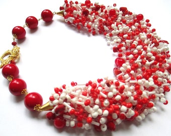 Red and white airy beaded necklace – seed bead necklace with red coral stone – air multi strand red and white beaded necklace