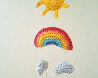 Crochet rainbow mobile. Rainbow mobile. Rainbow wall hanging. Nursery decor. Rainbow decor. Weather mobile. Weather mobile. Baby gift.