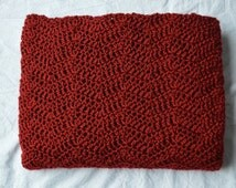 Red Ripple Afghan - Red Ripple Throw, Crochet Red Ripple Afghan, Crochet Afghan, Red Throw Blanket, Crochet Ripple Blanket, Mothers Day Gift