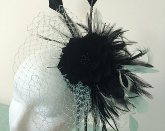 Mint and black feather fascinator