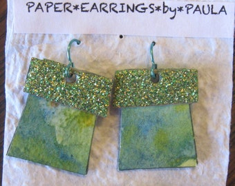 hand painted*lime*sparkly*paper*earrings
