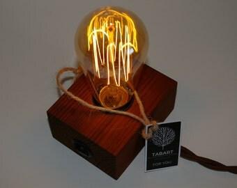 Mini edison wood lamp