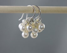 White cluster pearl earrings, sterling silver, pearl and opal earrings, freshwater clusters, timeless bridal earring, perfect pearls for her