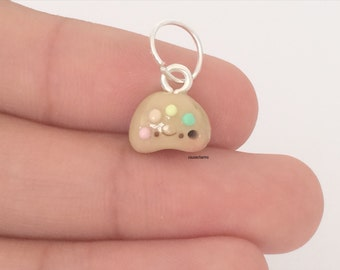 Tiny Paint Palette Charm - Handmade from Polymer Clay