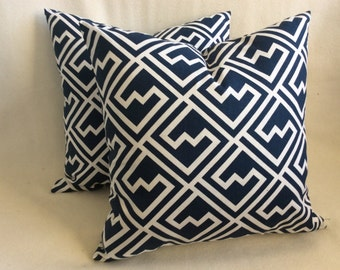 Geometric Designer Pillow Cover Pair - Navy/White