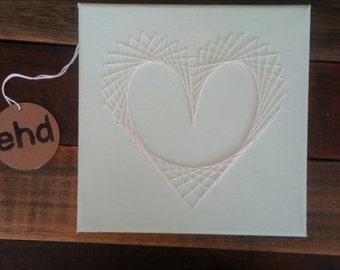Mint Green Stitched Geometric Heart on Canvas