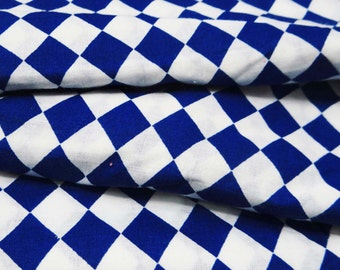 "Blue & White Geometric Print Fabric For Sewing Indian Pure Cotton Fabric 38""WD Sewing Craft Material Apparel Drape Fabric By 1 Yard ZBC5044"