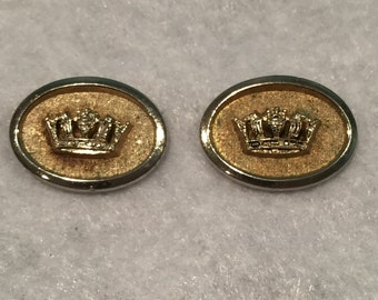 Shields Gold-tone Crown Cuff Links - CA 1960's - Item #13