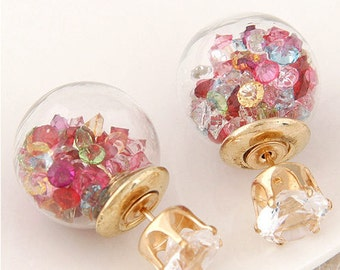 Round Stud Multi colored Crystal Earrings