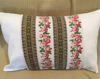 Vintage French Ticking Pillowcase, French Country Linen Pillows Shabby Chic Pillowcase 1940s French Linen Cushion