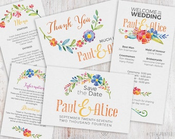 INSTANT DOWNLOAD: 8 PSD Wedding Shower Invitation Templates - Easy editing - 3 type of Fonts