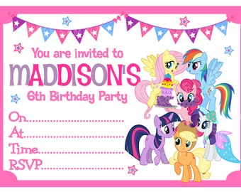 My Little Pony PERSONALISED Birthday Party Invitations x 10