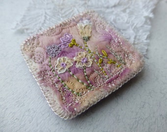 meadow textile brooch,eco silk brooch,embroidered flowers,antique lace,pink and purple, stitched brooch
