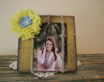 Yellow distressed wood photo holder, recipe holder, 4x6, desk frame