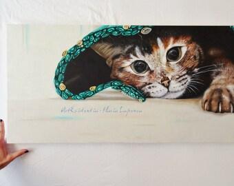 Cat portrait, oil on canvas, 40 x 80 cm, original, hand-painted furniture, painting