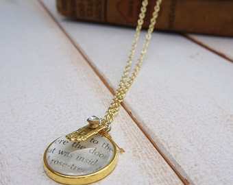 Secret Garden Necklace | Book Page Necklace | Classic Literature Necklace } Book Accessory | Book Jewelry