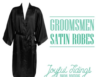 SALE Personalized Men's Satin Robe, Groomsmen's Robe, Groomsmen's Gifts, Wedding Gifts, Couple's Gifts, Gifts for Dad, Bachelor's Party