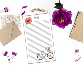 Floral Blue Bicycle Note Inserts