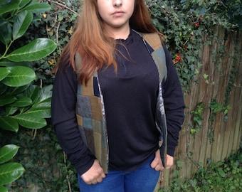 Tweed patchwork waist coat