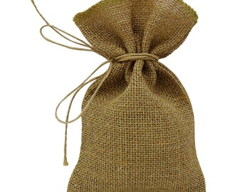 50 Metallic Silver Burlap Bags, Thank You Favor Bag, Rustic Wedding Jute Bags Drawstring Pouches FAB160