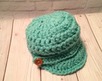 Crochet Newsboy Hat - Kid's Newsboy Cap - Baseball Hat - Newsboy Hat -News Boy Hat - Teal Hat - Birthday Gift - Warm Hat