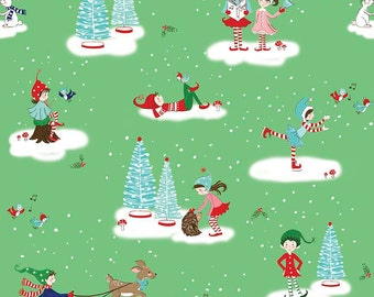 SALE Pixie Noel Main Green by Riley Blake Designs - Christmas Trees Ice Skating - Quilting Cotton Fabric - choose your cut
