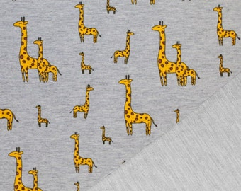 Giraffes on Grey French Terry