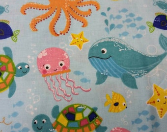 Under the sea. Ocean creatures. Turtles, fish and octopus. Clothing and craft 100% Cotton Fabric