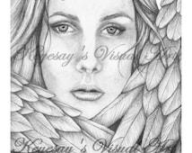 Adult Fantasy Coloring Page Digital Download Digi Print Stamp-Tiffani the Angel