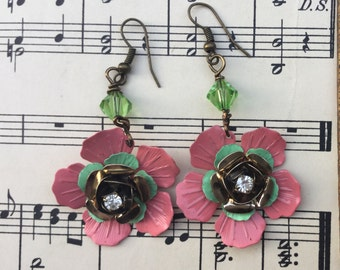 Pink and green fantasy: vintage assemblage earrings